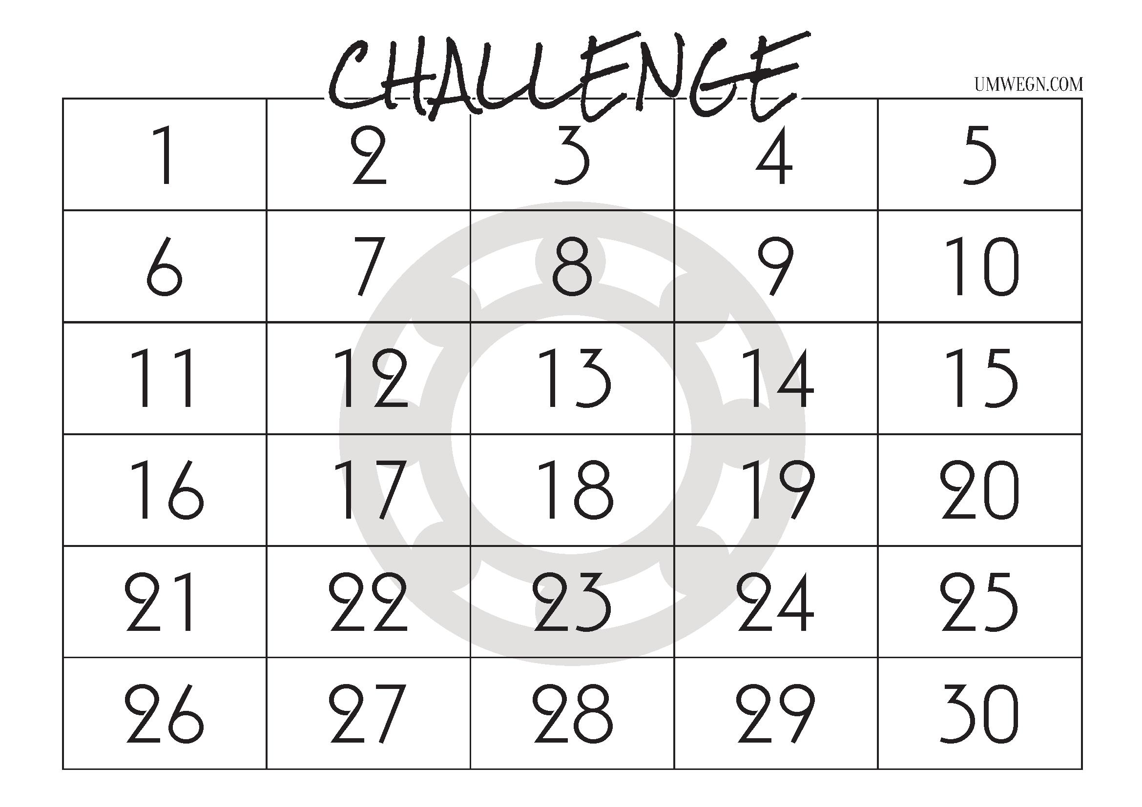 Challenge Kalender 30 Tage