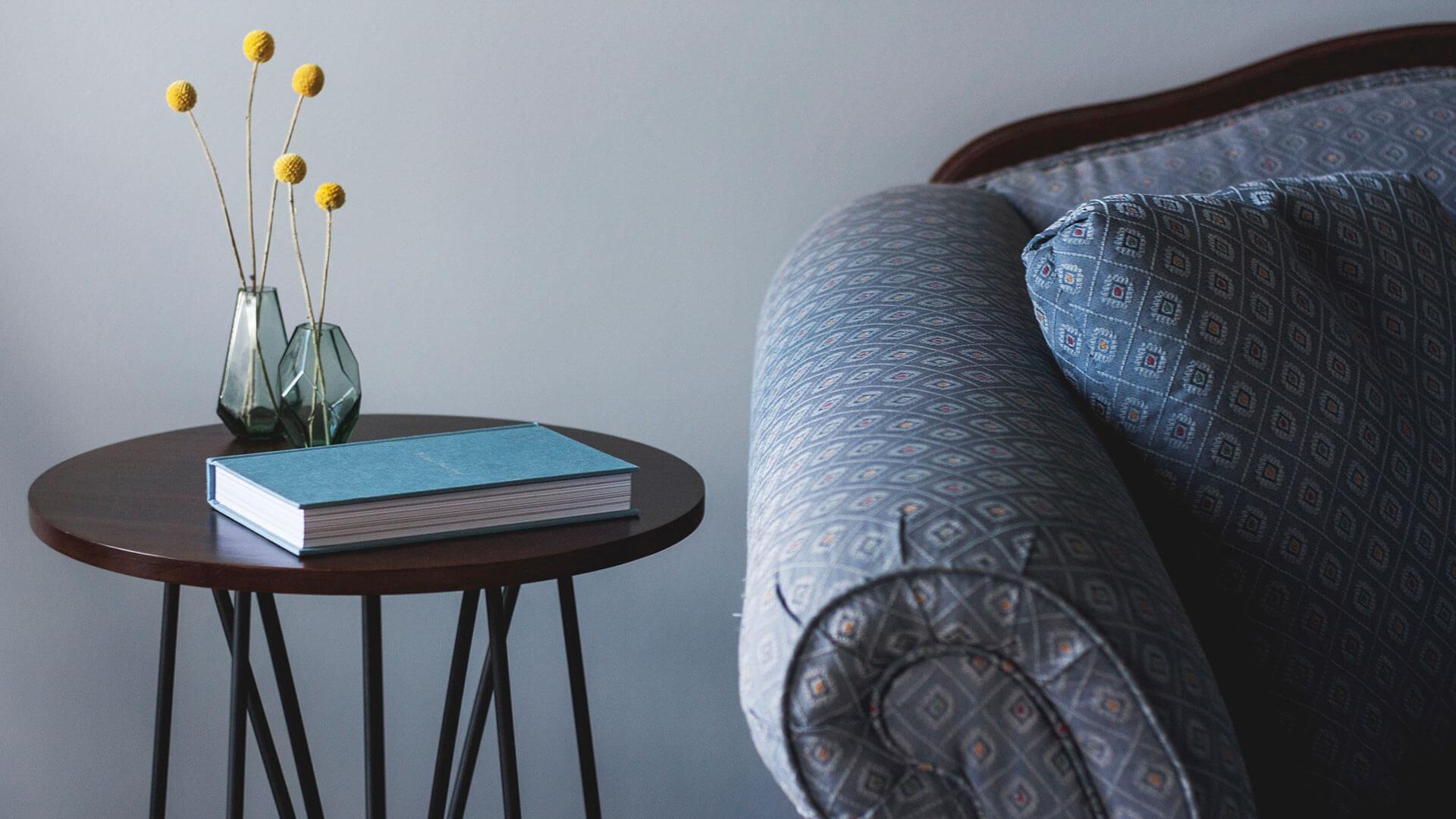 Geduld: Sofa, Buch und Pflanze